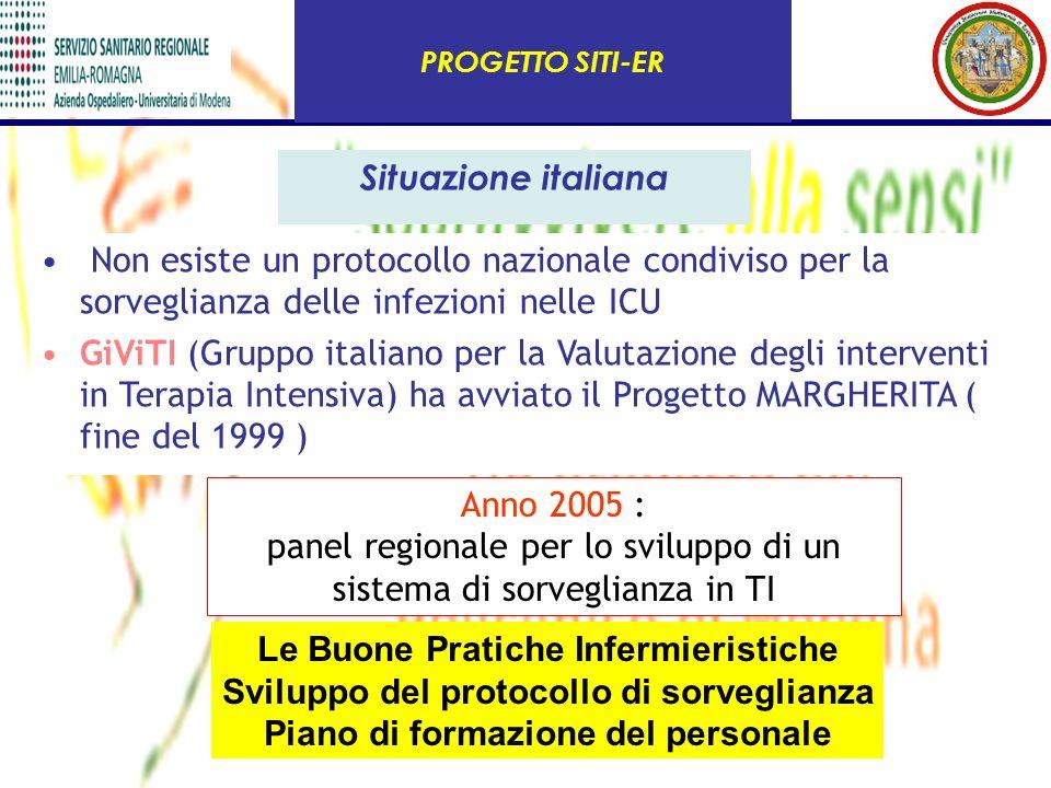 Anno 2005 : panel regionale per lo sviluppo di un sistema di sorveglianza in TI Situazione italiana Non esiste un protocollo nazionale condiviso per l