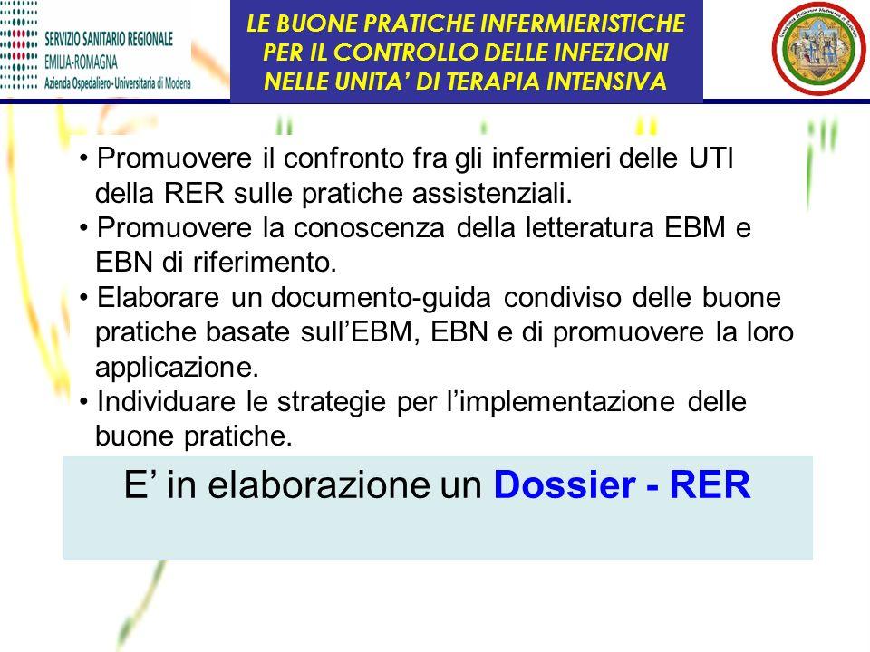 Promuovere il confronto fra gli infermieri delle UTI della RER sulle pratiche assistenziali. Promuovere la conoscenza della letteratura EBM e EBN di r