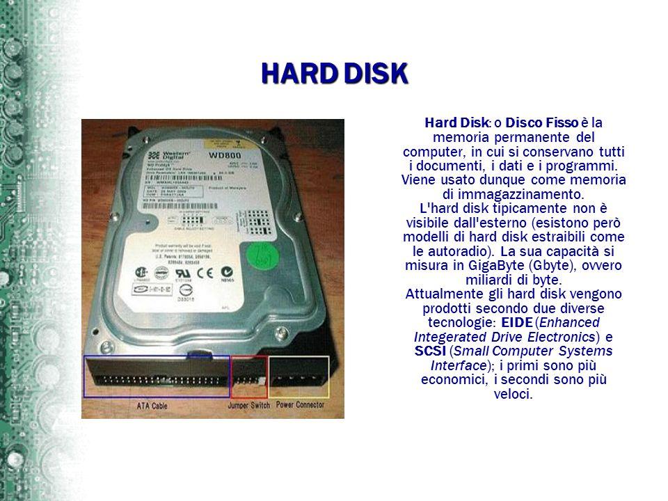 HARD DISK Hard Disk: o Disco Fisso è la memoria permanente del computer, in cui si conservano tutti i documenti, i dati e i programmi. Viene usato dun