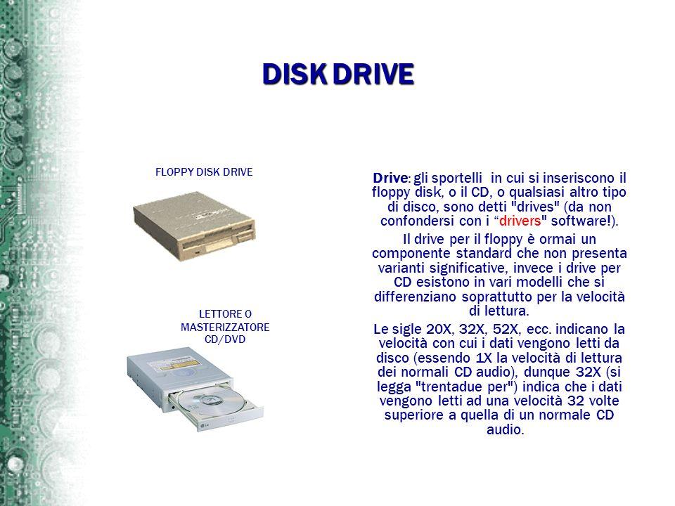 DISK DRIVE Drive: gli sportelli in cui si inseriscono il floppy disk, o il CD, o qualsiasi altro tipo di disco, sono detti