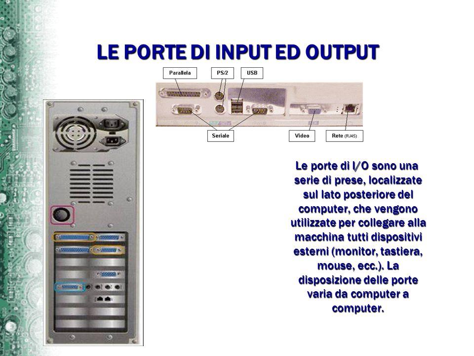 LE PORTE DI INPUT ED OUTPUT Le porte di I/O sono una serie di prese, localizzate sul lato posteriore del computer, che vengono utilizzate per collegar