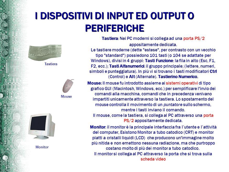 I DISPOSITIVI DI INPUT ED OUTPUT O PERIFERICHE Tastiera: Nei PC moderni si collega ad una porta PS/2 appositamente dedicata. Le tastiere moderne (dett