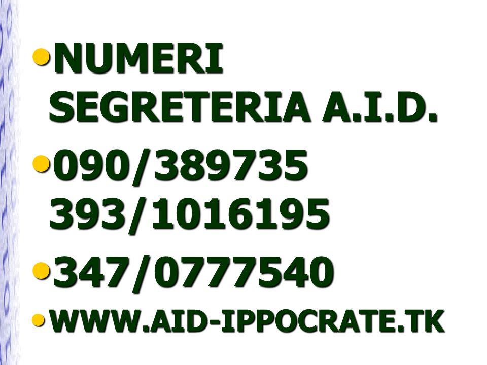 NUMERI SEGRETERIA A.I.D. NUMERI SEGRETERIA A.I.D. 090/389735 393/1016195 090/389735 393/1016195 347/0777540 347/0777540 WWW.AID-IPPOCRATE.TK WWW.AID-I