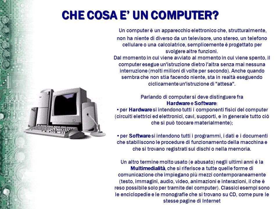 CHE COSA E UN COMPUTER? Un computer è un apparecchio elettronico che, strutturalmente, non ha niente di diverso da un televisore, uno stereo, un telef