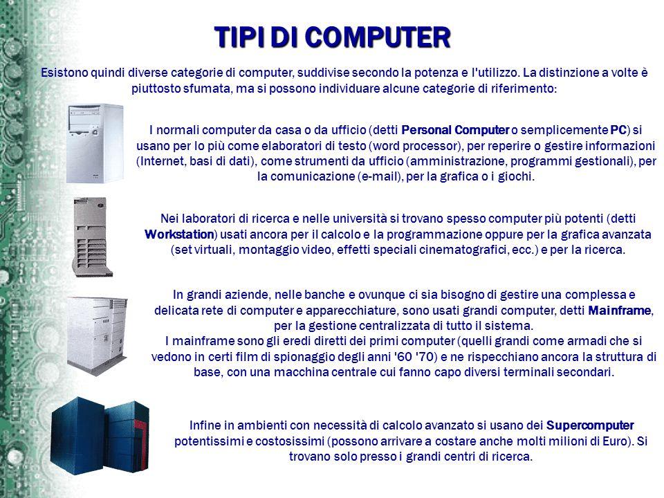 TIPI DI COMPUTER Esistono quindi diverse categorie di computer, suddivise secondo la potenza e l'utilizzo. La distinzione a volte è piuttosto sfumata,