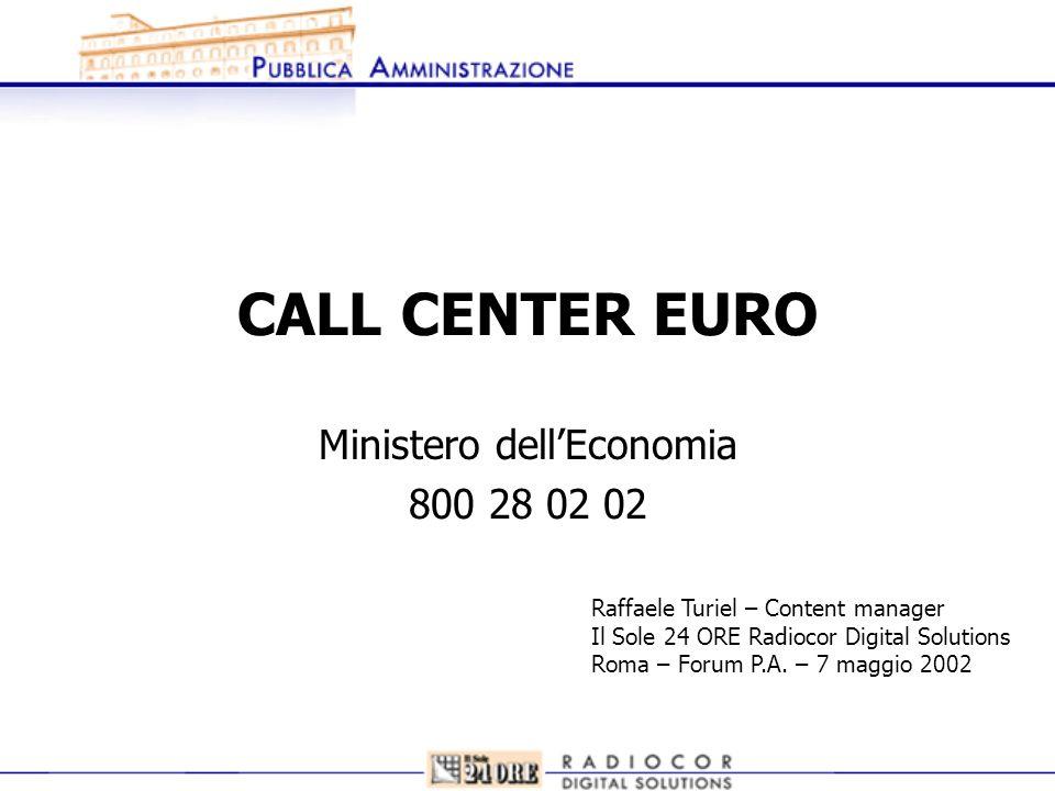 CALL CENTER EURO Ministero dellEconomia 800 28 02 02 Raffaele Turiel – Content manager Il Sole 24 ORE Radiocor Digital Solutions Roma – Forum P.A. – 7