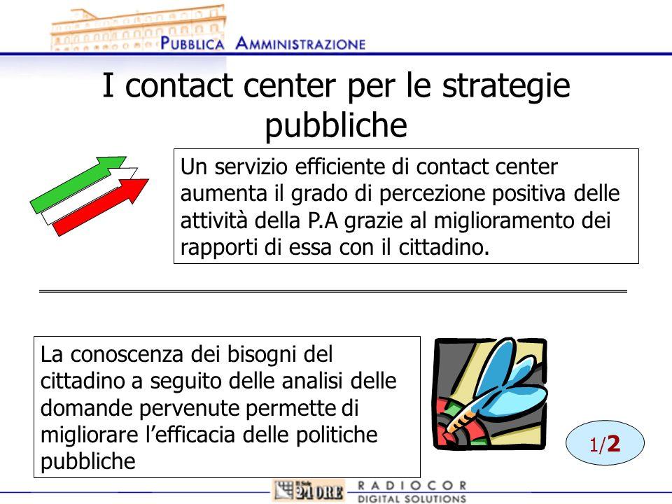 I contact center per le strategie pubbliche Un servizio efficiente di contact center aumenta il grado di percezione positiva delle attività della P.A