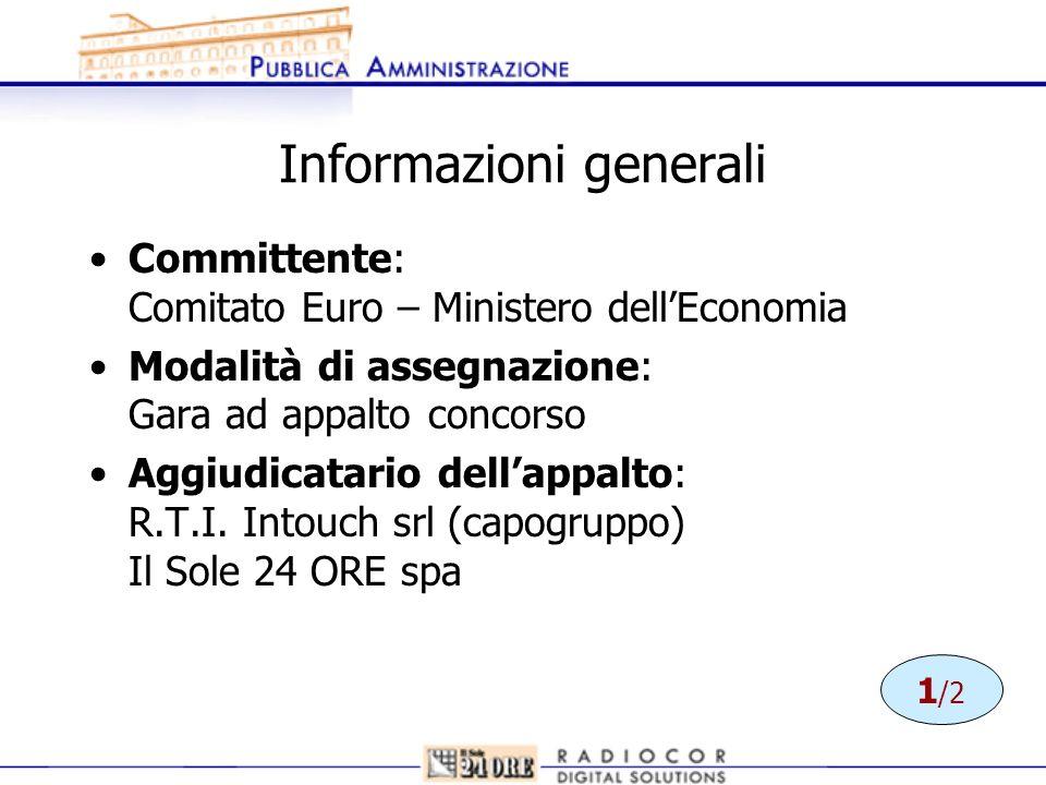Informazioni generali Committente: Comitato Euro – Ministero dellEconomia Modalità di assegnazione: Gara ad appalto concorso Aggiudicatario dellappalt