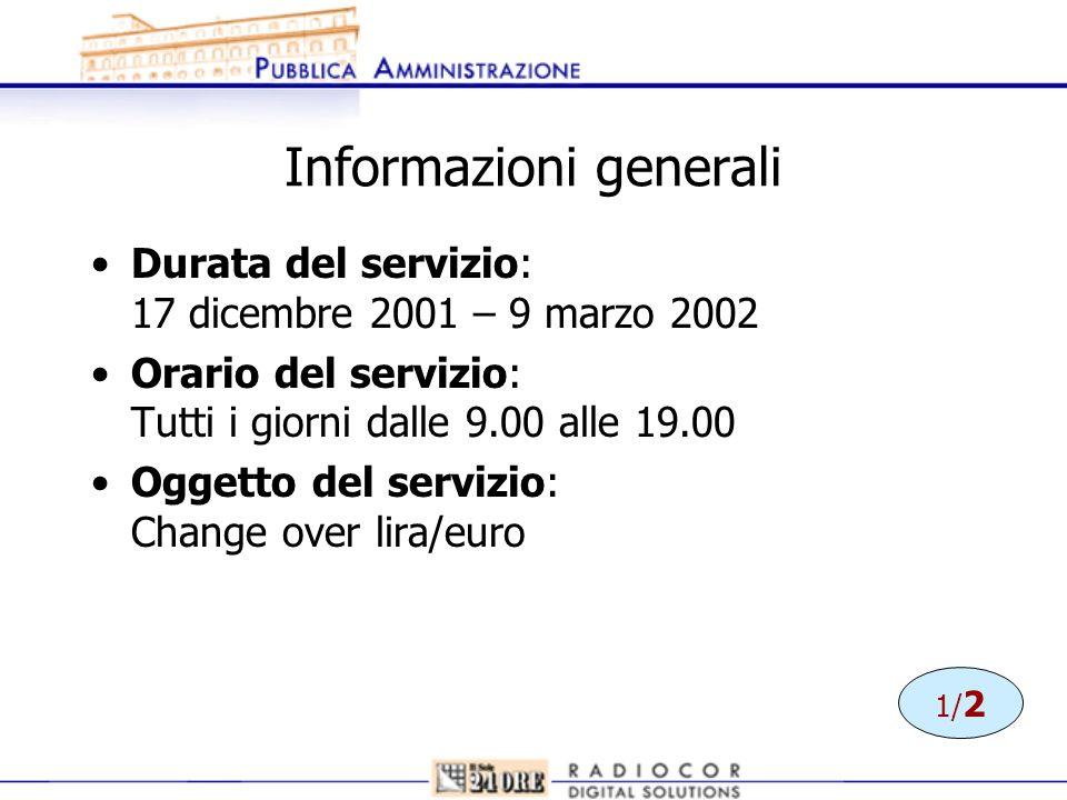 Informazioni generali Durata del servizio: 17 dicembre 2001 – 9 marzo 2002 Orario del servizio: Tutti i giorni dalle 9.00 alle 19.00 Oggetto del servi