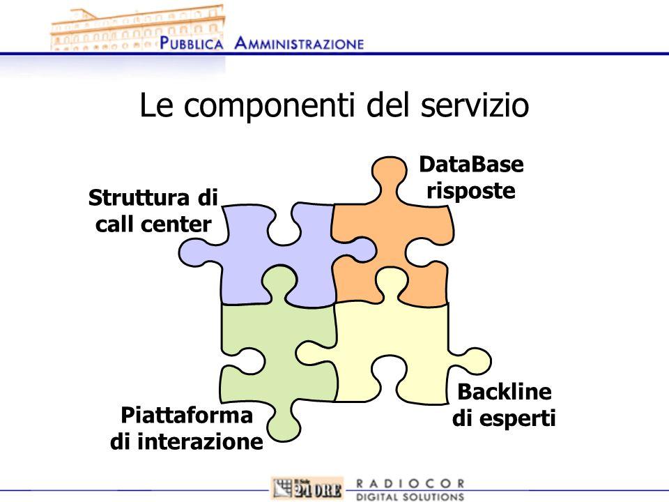 Le componenti del servizio Struttura di call center DataBase risposte Backline di esperti Piattaforma di interazione
