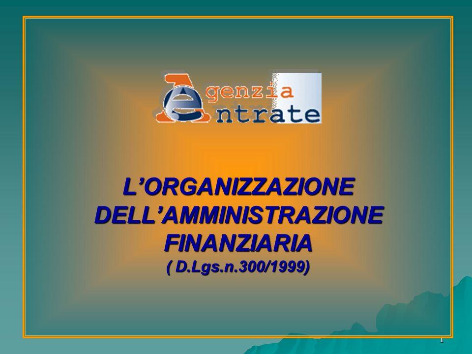 1 LORGANIZZAZIONE DELLAMMINISTRAZIONE FINANZIARIA ( D.Lgs.n.300/1999)