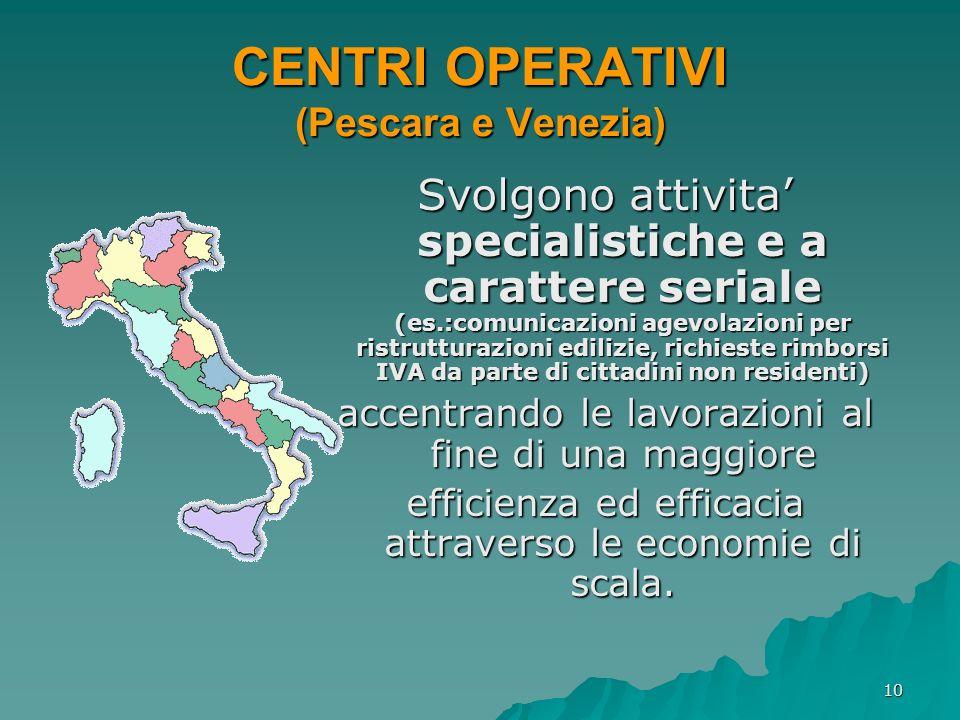 10 CENTRI OPERATIVI (Pescara e Venezia) Svolgono attivita specialistiche e a carattere seriale (es.:comunicazioni agevolazioni per ristrutturazioni ed