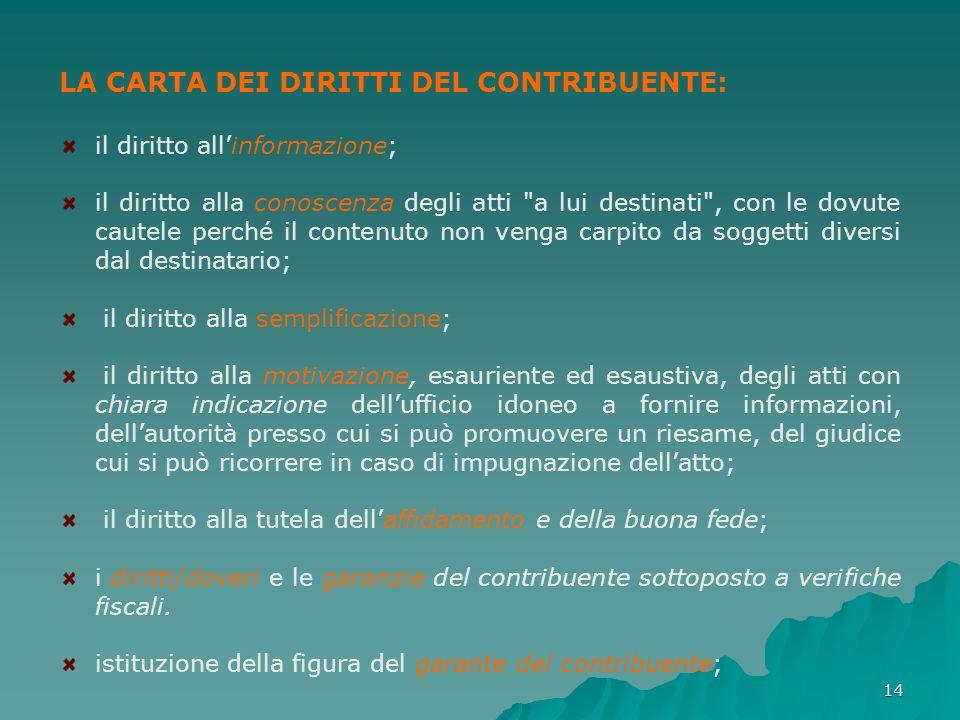 14 LA CARTA DEI DIRITTI DEL CONTRIBUENTE: il diritto allinformazione; il diritto alla conoscenza degli atti