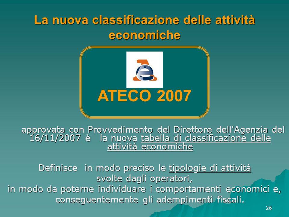 26 La nuova classificazione delle attività economiche approvata con Provvedimento del Direttore dell'Agenzia del 16/11/2007 è la nuova tabella di clas