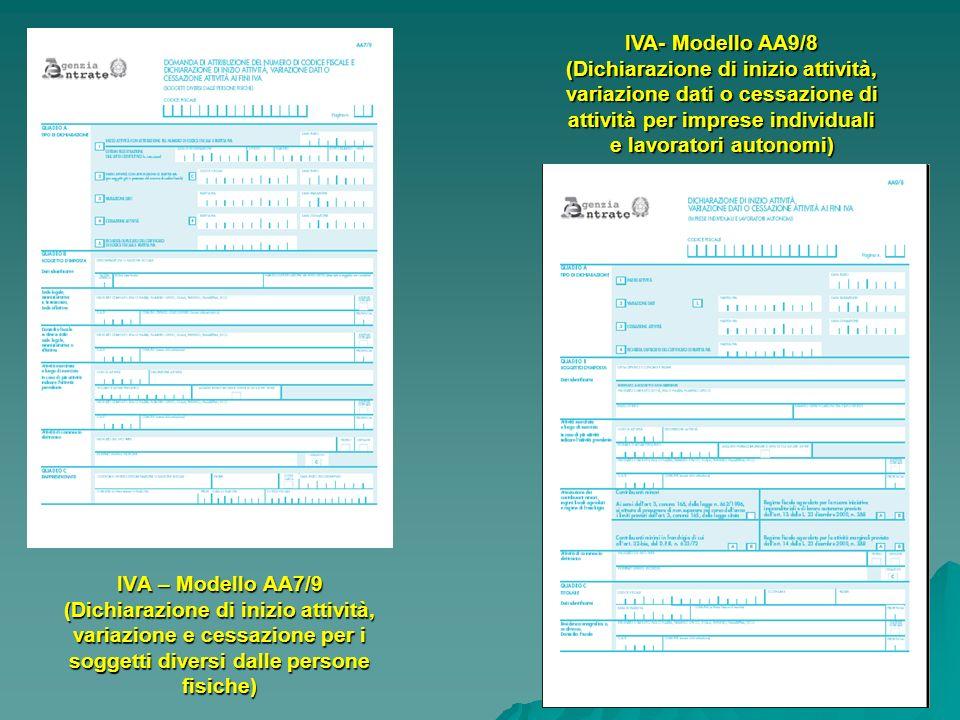 28 IVA – Modello AA7/9 (Dichiarazione di inizio attività, variazione e cessazione per i soggetti diversi dalle persone fisiche) IVA- Modello AA9/8 (Di
