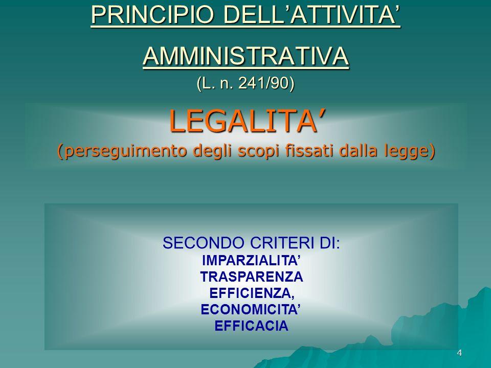 4 PRINCIPIO DELLATTIVITA AMMINISTRATIVA (L. n. 241/90) LEGALITA (perseguimento degli scopi fissati dalla legge) SECONDO CRITERI DI: IMPARZIALITA TRASP