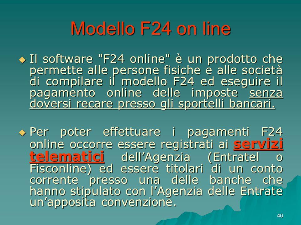 40 Modello F24 on line Il software
