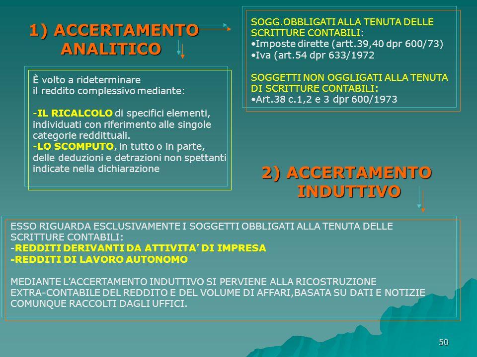 50 1) ACCERTAMENTO ANALITICO 1) ACCERTAMENTO ANALITICO SOGG.OBBLIGATI ALLA TENUTA DELLE SCRITTURE CONTABILI: Imposte dirette (artt.39,40 dpr 600/73) I