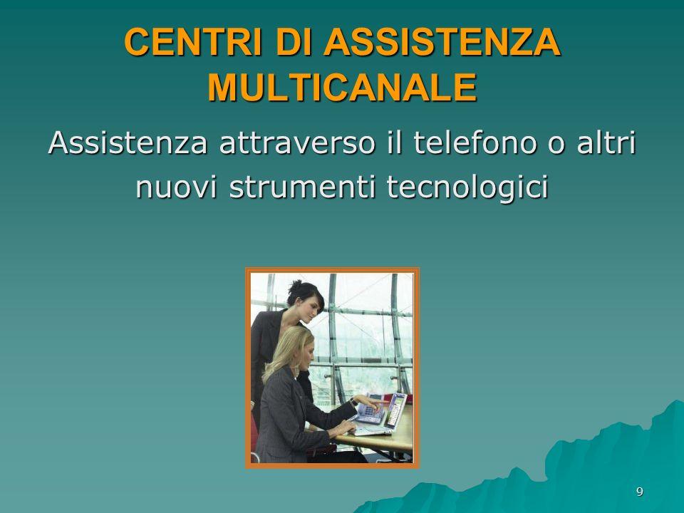 9 CENTRI DI ASSISTENZA MULTICANALE Assistenza attraverso il telefono o altri nuovi strumenti tecnologici