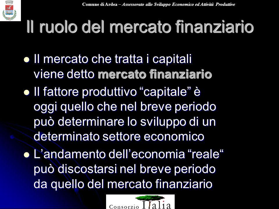Comune di Ardea – Assessorato allo Sviluppo Economico ed Attività Produttive Il ruolo del mercato finanziario Il mercato che tratta i capitali viene d