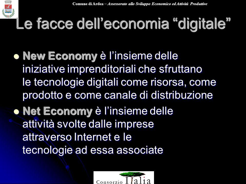 Comune di Ardea – Assessorato allo Sviluppo Economico ed Attività Produttive Le facce delleconomia digitale New Economy è linsieme delle iniziative im