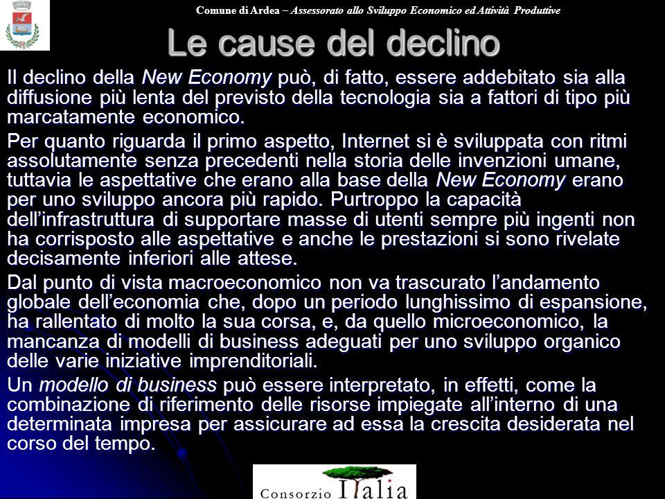 Comune di Ardea – Assessorato allo Sviluppo Economico ed Attività Produttive Le cause del declino Il declino della New Economy può, di fatto, essere a