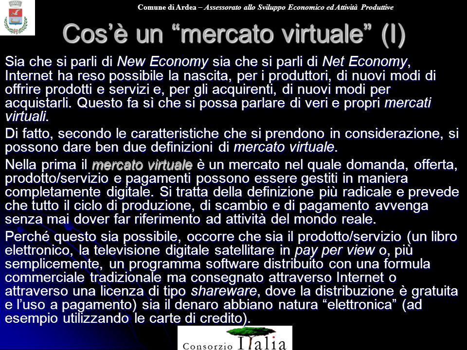 Comune di Ardea – Assessorato allo Sviluppo Economico ed Attività Produttive Cosè un mercato virtuale (I) Sia che si parli di New Economy sia che si p