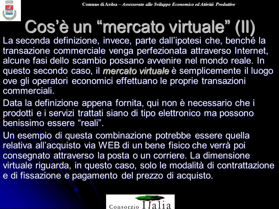 Comune di Ardea – Assessorato allo Sviluppo Economico ed Attività Produttive Cosè un mercato virtuale (II) La seconda definizione, invece, parte dalli