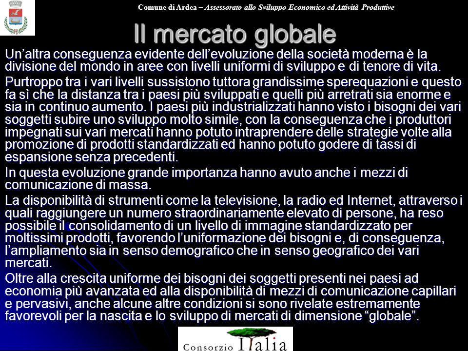 Comune di Ardea – Assessorato allo Sviluppo Economico ed Attività Produttive Il mercato globale Uno di questi fattori è sicuramente quello finanziario.