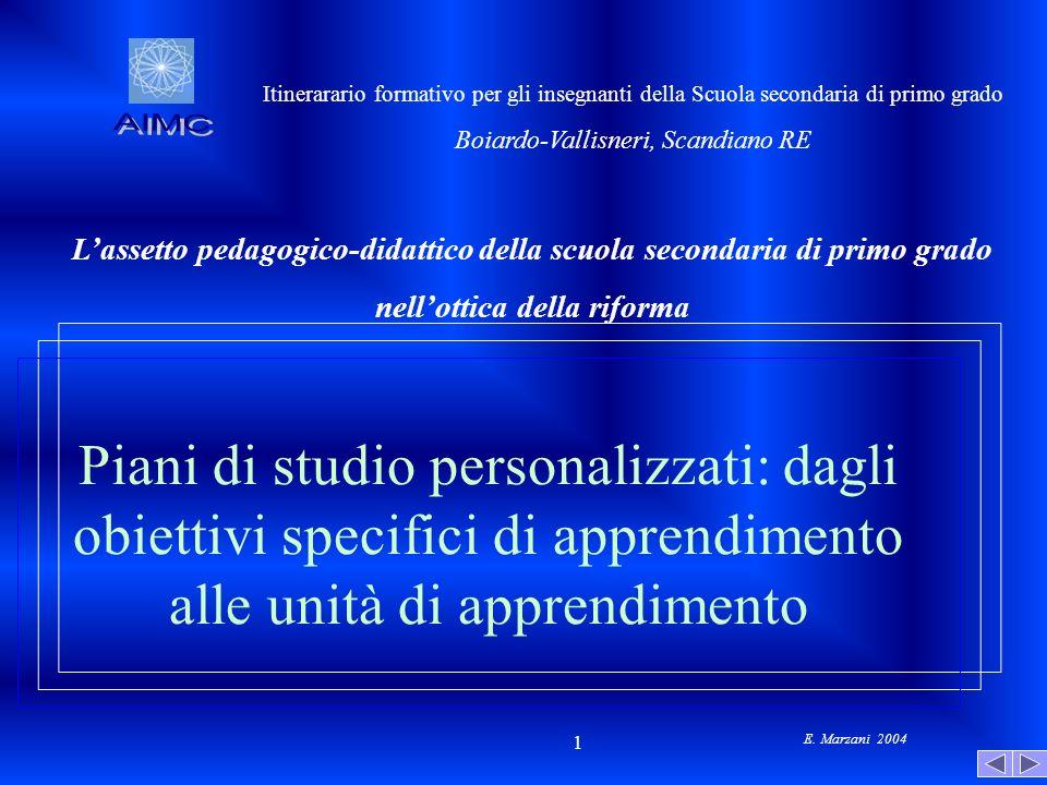 E. Marzani 2004 1 Piani di studio personalizzati: dagli obiettivi specifici di apprendimento alle unità di apprendimento Itinerarario formativo per gl