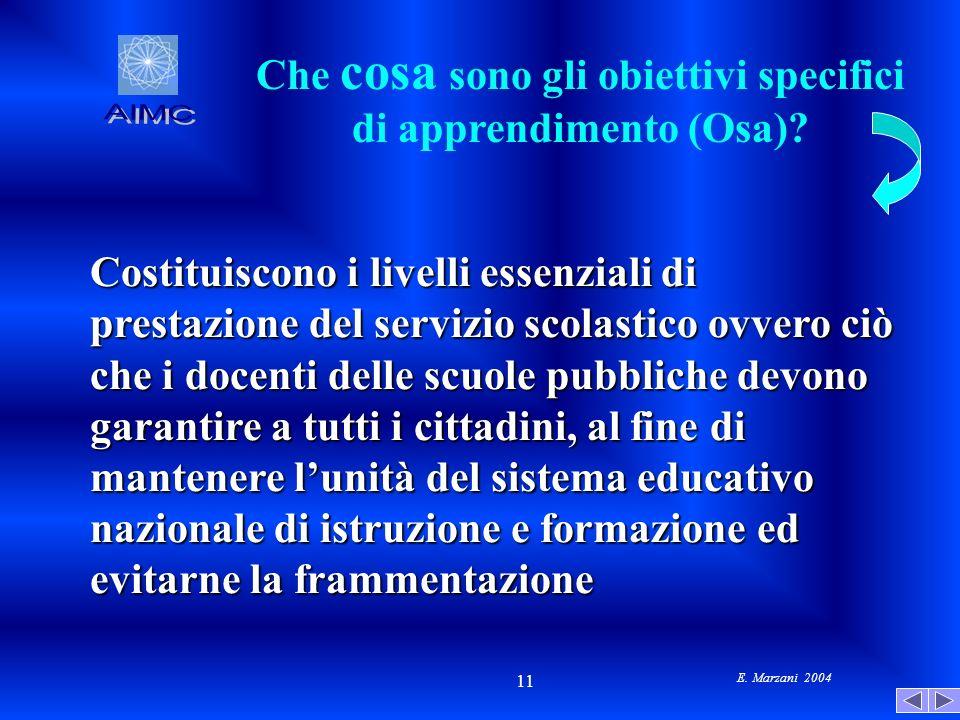 E. Marzani 2004 11 Che cosa sono gli obiettivi specifici di apprendimento (Osa)? Costituiscono i livelli essenziali di prestazione del servizio scolas
