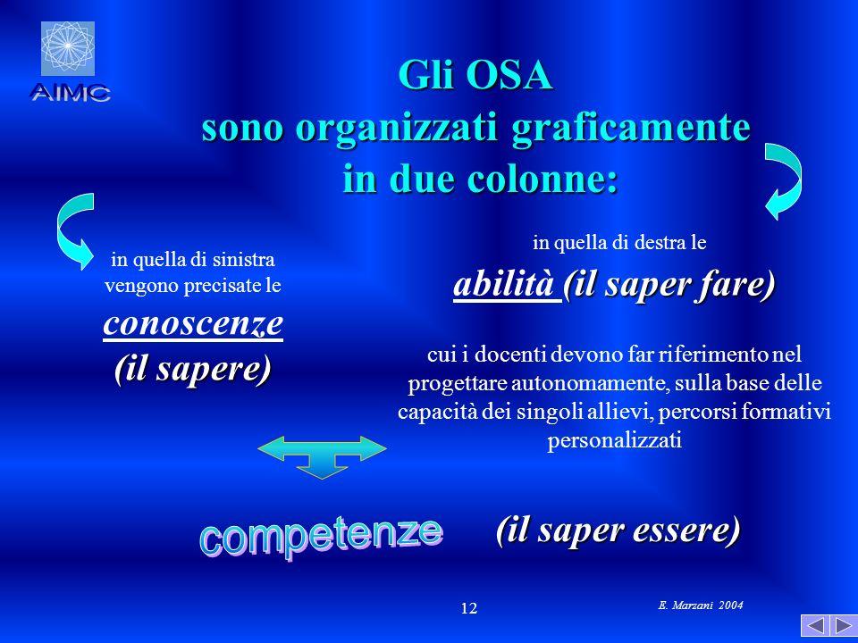 E. Marzani 2004 12 Gli OSA sono organizzati graficamente in due colonne: in due colonne: in quella di sinistra vengono precisate le conoscenze (il sap