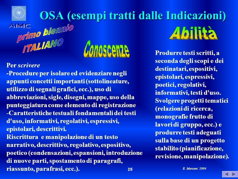 E. Marzani 2004 17 26 E. Marzani 2004 OSA (esempi tratti dalle Indicazioni) Per scrivere -Procedure per isolare ed evidenziare negli appunti concetti