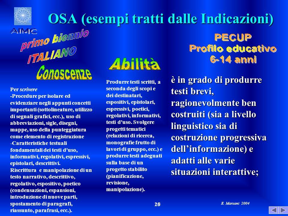 E. Marzani 2004 19 26 E. Marzani 2004 OSA (esempi tratti dalle Indicazioni) Per scrivere -Procedure per isolare ed evidenziare negli appunti concetti