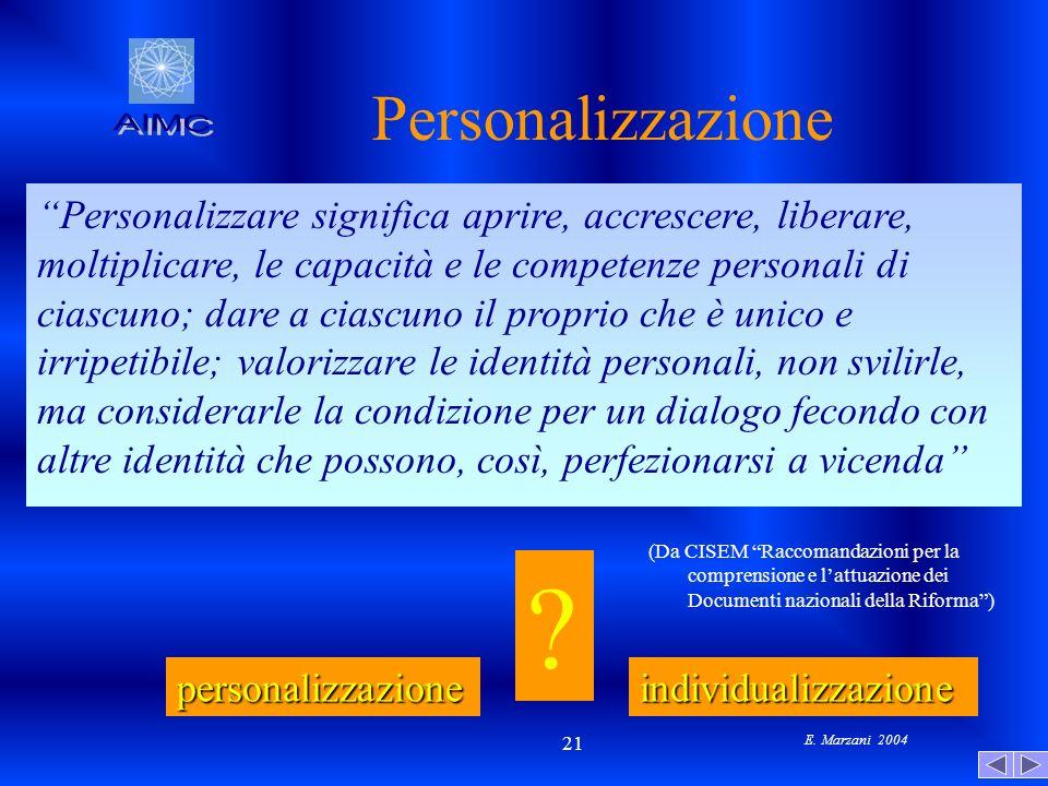E. Marzani 2004 21 Personalizzazione Personalizzare significa aprire, accrescere, liberare, moltiplicare, le capacità e le competenze personali di cia