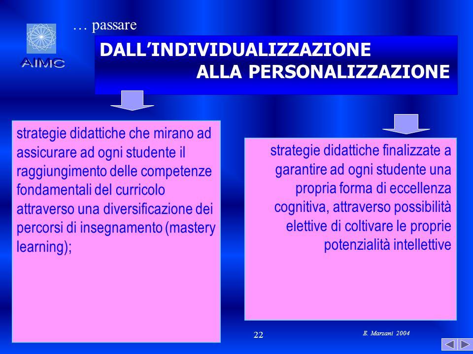 E. Marzani 2004 22 strategie didattiche che mirano ad assicurare ad ogni studente il raggiungimento delle competenze fondamentali del curricolo attrav