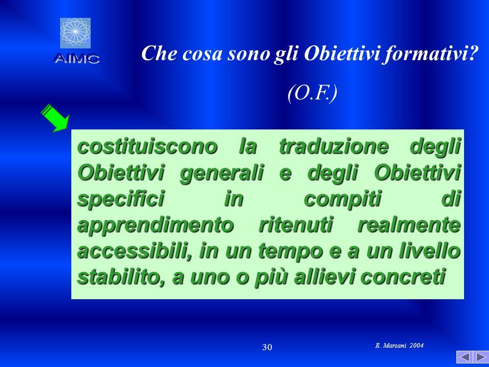 E. Marzani 2004 30 Che cosa sono gli Obiettivi formativi? (O.F.) costituiscono la traduzione degli Obiettivi generali e degli Obiettivi specifici in c
