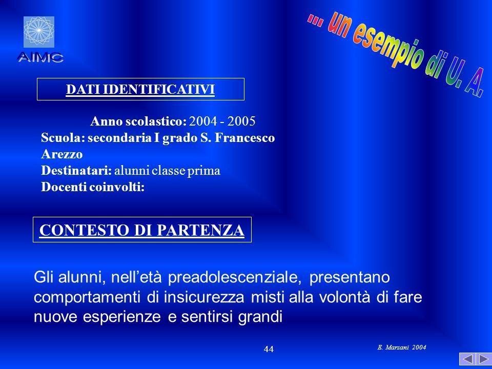E. Marzani 2004 44 Gli alunni, nelletà preadolescenziale, presentano comportamenti di insicurezza misti alla volontà di fare nuove esperienze e sentir