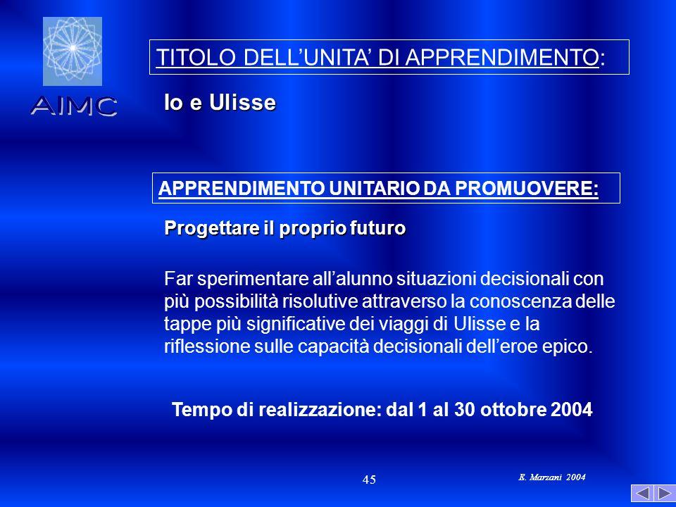 E. Marzani 2004 45 E. Marzani 2004 APPRENDIMENTO UNITARIO DA PROMUOVERE: Tempo di realizzazione: dal 1 al 30 ottobre 2004 Far sperimentare allalunno s