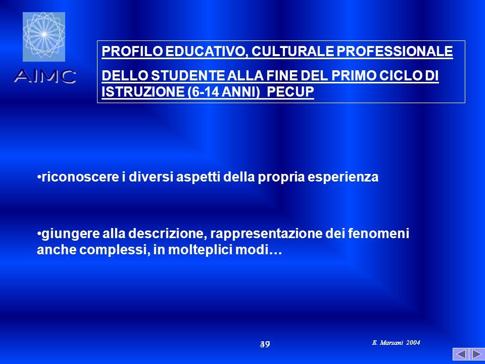 E. Marzani 2004 47 39 E. Marzani 2004 PROFILO EDUCATIVO, CULTURALE PROFESSIONALE DELLO STUDENTE ALLA FINE DEL PRIMO CICLO DI ISTRUZIONE (6-14 ANNI) PE