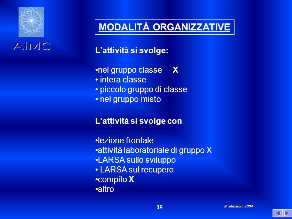 E. Marzani 2004 49 39 E. Marzani 2004 MODALITÀ ORGANIZZATIVE Lattività si svolge: nel gruppo classe X intera classe piccolo gruppo di classe nel grupp