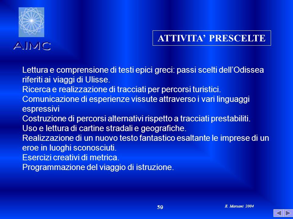 E. Marzani 2004 50 39 E. Marzani 2004 Lettura e comprensione di testi epici greci: passi scelti dellOdissea riferiti ai viaggi di Ulisse. Ricerca e re