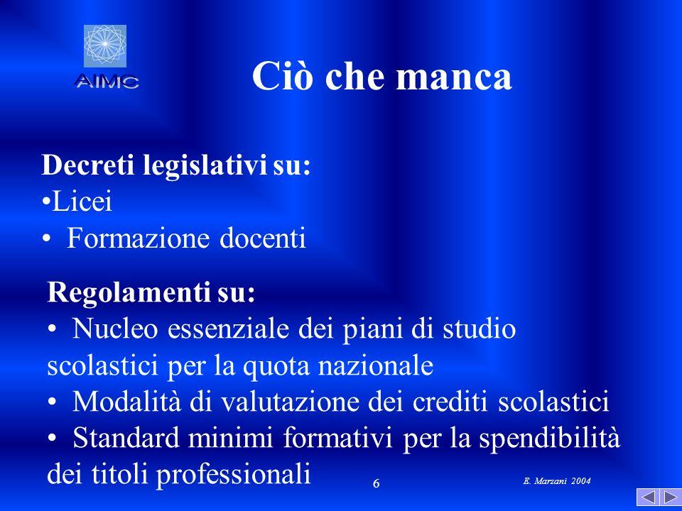 E. Marzani 2004 6 Ciò che manca Decreti legislativi su: Licei Formazione docenti Regolamenti su: Nucleo essenziale dei piani di studio scolastici per