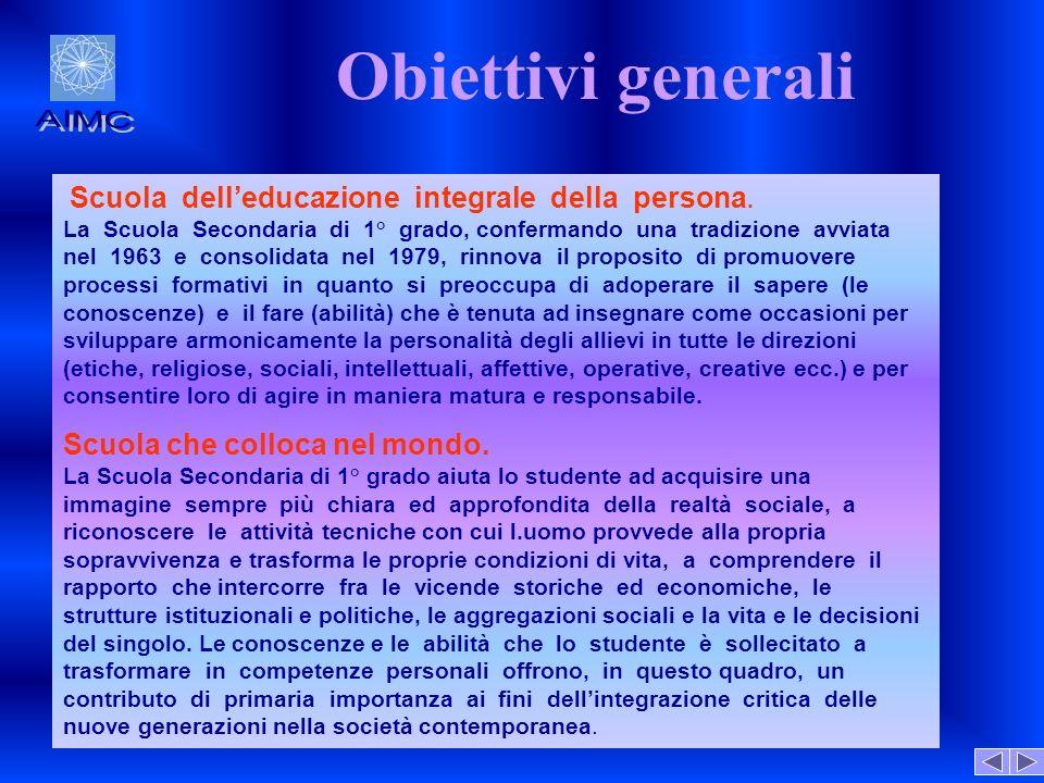 E. Marzani 2004 9 Obiettivi generali Scuola delleducazione integrale della persona. La Scuola Secondaria di 1° grado, confermando una tradizione avvia