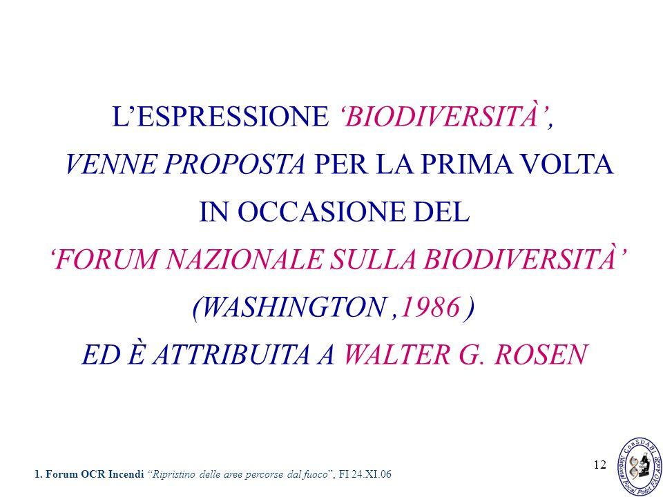 12 LESPRESSIONE BIODIVERSITÀ, VENNE PROPOSTA PER LA PRIMA VOLTA IN OCCASIONE DEL FORUM NAZIONALE SULLA BIODIVERSITÀ (WASHINGTON,1986 ) ED È ATTRIBUITA
