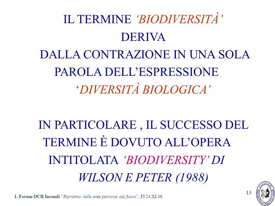 13 IL TERMINE BIODIVERSITÀ DERIVA DALLA CONTRAZIONE IN UNA SOLA PAROLA DELLESPRESSIONE DIVERSITÀ BIOLOGICA IN PARTICOLARE, IL SUCCESSO DEL TERMINE È D