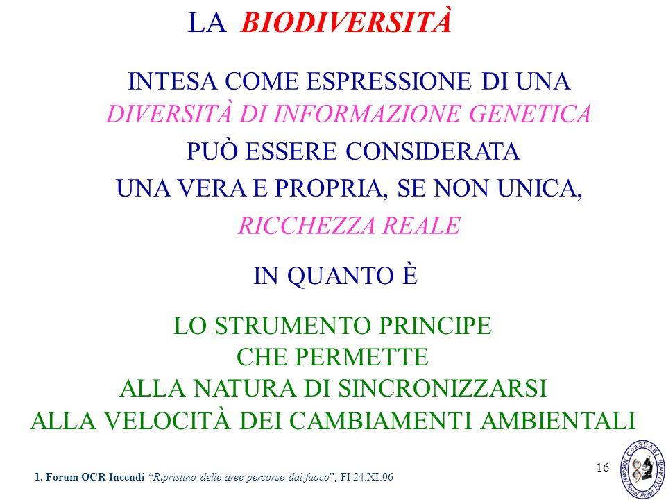 16 LA BIODIVERSITÀ INTESA COME ESPRESSIONE DI UNA DIVERSITÀ DI INFORMAZIONE GENETICA PUÒ ESSERE CONSIDERATA UNA VERA E PROPRIA, SE NON UNICA, RICCHEZZ