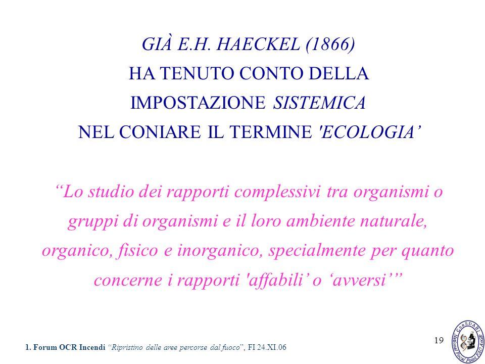 19 GIÀ E.H. HAECKEL (1866) HA TENUTO CONTO DELLA IMPOSTAZIONE SISTEMICA NEL CONIARE IL TERMINE 'ECOLOGIA Lo studio dei rapporti complessivi tra organi