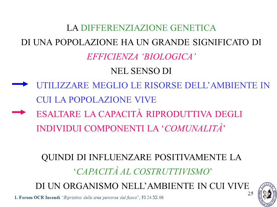 25 LA DIFFERENZIAZIONE GENETICA DI UNA POPOLAZIONE HA UN GRANDE SIGNIFICATO DI EFFICIENZA BIOLOGICA NEL SENSO DI UTILIZZARE MEGLIO LE RISORSE DELLAMBI