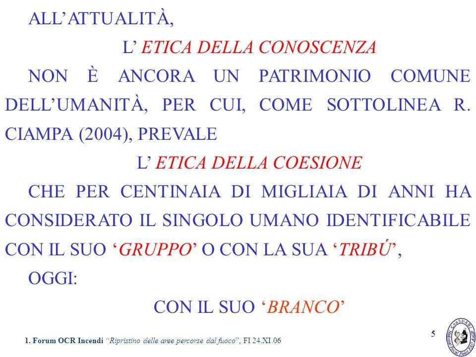 5 ALLATTUALITÀ, L ETICA DELLA CONOSCENZA NON È ANCORA UN PATRIMONIO COMUNE DELLUMANITÀ, PER CUI, COME SOTTOLINEA R. CIAMPA (2004), PREVALE L ETICA DEL